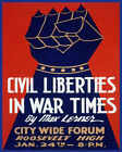 POSTER CIVIL LIBERTIES IN WAR TIME MAX LERNER IRON FIST VINTAGE REPRO FREE S/H