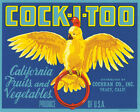 POSTER COCK-I-TOO BIRD CALIFORNIA FRUITS VEGETABLES USA VINTAGE REPRO FREE S/H