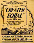 POSTER CREATED EQUAL BASED UPON THE CONSTITUTION USA VINTAGE REPRO FREE S/H