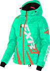 FXR Womens Aqua Digi/Electric Tangerine Boost Snowmobile Jacket Shell w/ Liner