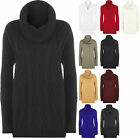 New Womens Cable Knitted Cowl Polo Neck Long Sleeve Sweater Top Ladies Jumper