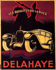 POSTER DELAHAYE FRENCH AUTOMOBILE HORSE QUALITY BREED CAR VINTAGE REPRO FREE S/H