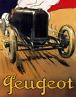 POSTER PEUGEOT FRENCH AUTOMOBILE FAST ROAD DRIVING CAR VINTAGE REPRO FREE S/H