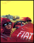 POSTER FIAT ITALIAN AUTOMOBILE CAR RACING SPEED DRIVING VINTAGE REPRO FREE S/H