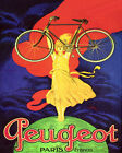 POSTER PEUGEOT BICYCLE WOMAN TOP OF WORLD CARRYING BIKE VINTAGE REPRO FREE S/H