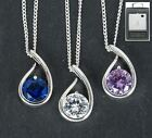 Equilibrium Jewellery Blue White Purple Silver Plated Teardrop Necklace Gift Box