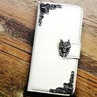 Fox phone wallet Leather flip case Wolf White Handmade cover For iPhone 6 7 plus