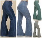 Denim Effect Hippie Boho Chic Bell Bottom Flare Stretch Pants Yoga Plus 1X 2X 3X