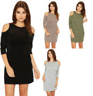 Womens Knitted Mini Dress Ladies Cut Out Cold Shoulder Long Sleeve Round Neck