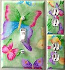 Green Butterflies light switch outlets wall plate covers custom kid or bath room
