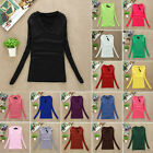 NEW High Quality Women Long Sleeve V-Neck Plain Basic Ladies Stretch T-Shirt Top