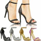 Womens Ladies Barely There Glitter Sandals High Heels Party Stilleto Bridal Size