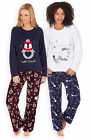 Ladies Long Sleeved Fleece Pyjama Set New Womens Penguin Winter Star PJs UK 8-22