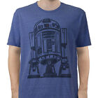 Star Wars R2D2 Outlined Heathered Blue Adult T-Shirt