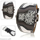 HX (With Battery)Fashion Men Big Dial Multi Time Zone Casual Gift Wristwatch