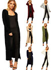 Womens Cable Knitted Midi Cardigan Ladies Button Long Sleeve Plain Stretch 8-14
