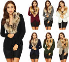 Womens Faux Fur Knitted Cardigan Top Ladies Open Belted Long Sleeve Short 8-14