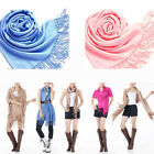 Hot Women Long Pashmina Designer Scarf Cashmere Silk Solid Shawl Wrap Scarves