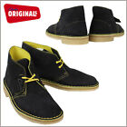 CLARKS ORIGINALS Men's DESERT BOOT Leather Black/Yellow 61274 Suede NEW IN BOX