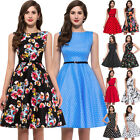 Women Cotton Floral Prints 1950s 1960s Pinup Party Prom Swing Dress
