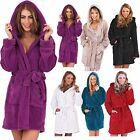 Ladies Women Super Soft Coral Fleece Short Length Hooded Robe With Tie Waist***