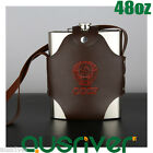 48oz Stainless Steel Hip Flask Liquor Whiskey Alcohol Bottle+Leather Cover Gift