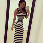 Sexy Women Summer Boho Long Maxi Evening Party Dress Beach Dress Stripe Sundress