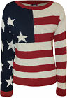 New Womens USA Stars Stripes Pattern Ladies Long Sleeve Knitted Jumper Top 8-14