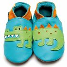 Boys Luxury Leather Soft Sole Pram Shoes - Crocodile Turquoise Orange- Inch Blue