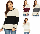 Womens Cable Knit Striped Jumper Ladies Round Neck Long Sleeve Block Print 8-16
