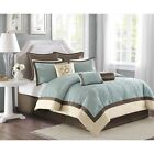 ** Super Deluxe Embroidered Blue Quilted Damask Comforter 9 pcs Set King Queen image