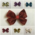 "3"" Glitter Glittery Shimmery Bows Alligator Clips Pins Christmas Parties"