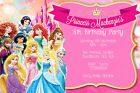 Personalised Pink Girly Disney Princesses Birthday Party Invites inc envelope D7