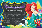 Personalised Princess Ariel The Little Mermaid Birthday Party Invites + envs MM2