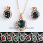 A1-S142 Fashion Simulated Gemstone Earring Necklace Jewelry Set 18KGP Crystal