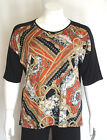 New Women's Plus Size Black Rust Print Top W Necklace Sizes 4X 5X  Made In USA