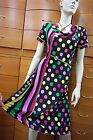 DRESS COCKTAIL SUMMER PARTY SHORT SLEEVE MADE IN EUROPE COLORFUL DOTS S M L XL