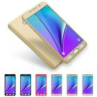 360 Full Protective Hard Case+Tempered Glass Cover for Samsung Galaxy Note 5 4