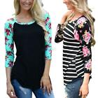 Women Floral Tee T-Shirt Lady Casual Loose Long Sleeve Tops Blouse Shirt S-3XL