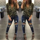 Women Blouse Camouflage Lace up V Neck Casual Loose Long Sleeve T-Shirt Top Tee