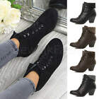 Womens ladies block mid low heel lace up fur cuff smart pixie ankle boots size