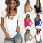 HXFashion Women Lace up V Neck Blouse Casual Loose Long Sleeve Slim T-Shirt Tops