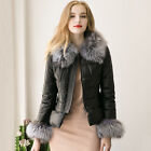 Winter Womens Faux Fox Fur Jacket Coat Ladies PU Zipper Slim Padded Warm Outwear