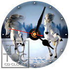S-801 CD CLOCK-TWO WHITE HORSES RUNNING IN THE SNOW- DESK,WALL,OFFICE,HOME,CLOCK