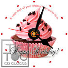 S-781 CD CLOCK-HAPPY BIRTHDAY CUPCAKE AND WISH-DESK OR WALL CLOCK-GREAT GIFT