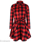 Womens Big Plaid Romper Skirt Dress Ladies Party Mini Shirt Dress Top Size S-2XL
