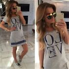Women Letter LOVE Printed Long T-shirt One-piece Casual Zipper Top Dress
