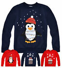Kids Christmas Jumper New Boys Girls Xmas Santa Penguin Sweatshirt Ages 3-13 Yrs
