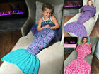 Kids Girls Beach Crocheted Mermaid Tail  Handmade Cocoon Knit Lapghan Blankets