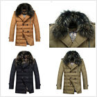 Men Winter Real Fur Collar Jackets Puffer Hooded Trench Parka outwear Down Coats